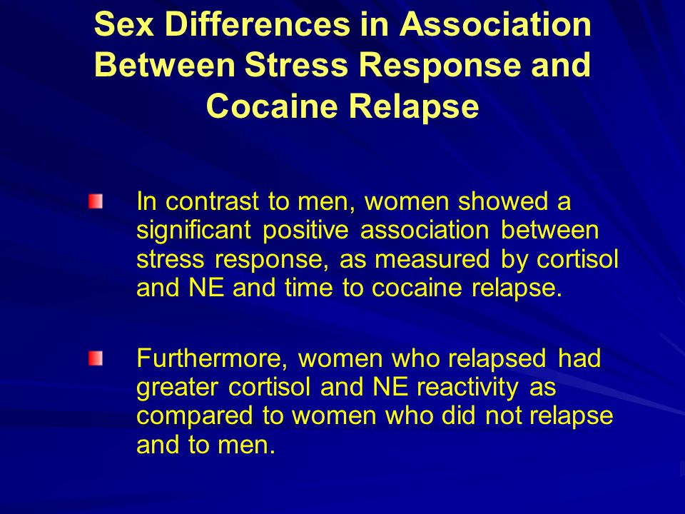 Sex Differences in Association Between Stress Response and Cocaine Relapse