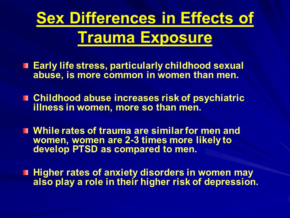 Sex Differences in Effects of Trauma Exposure