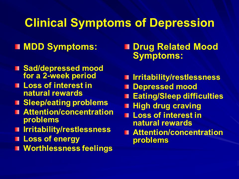 Clinical Symptoms of Depression