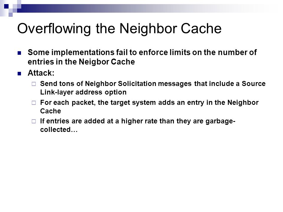 Overflowing the Neighbor Cache
