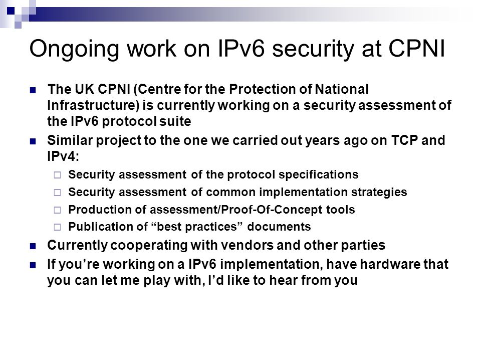 Ongoing work on IPv6 security at CPNI