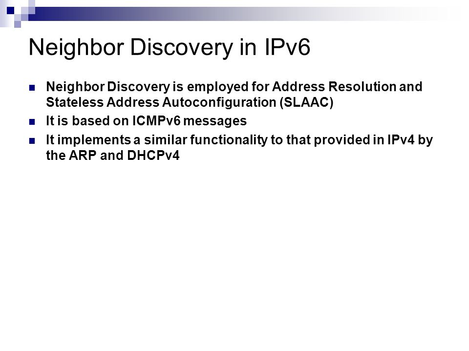 Neighbor Discovery in IPv6