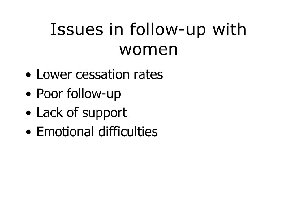 Issues in follow-up with women