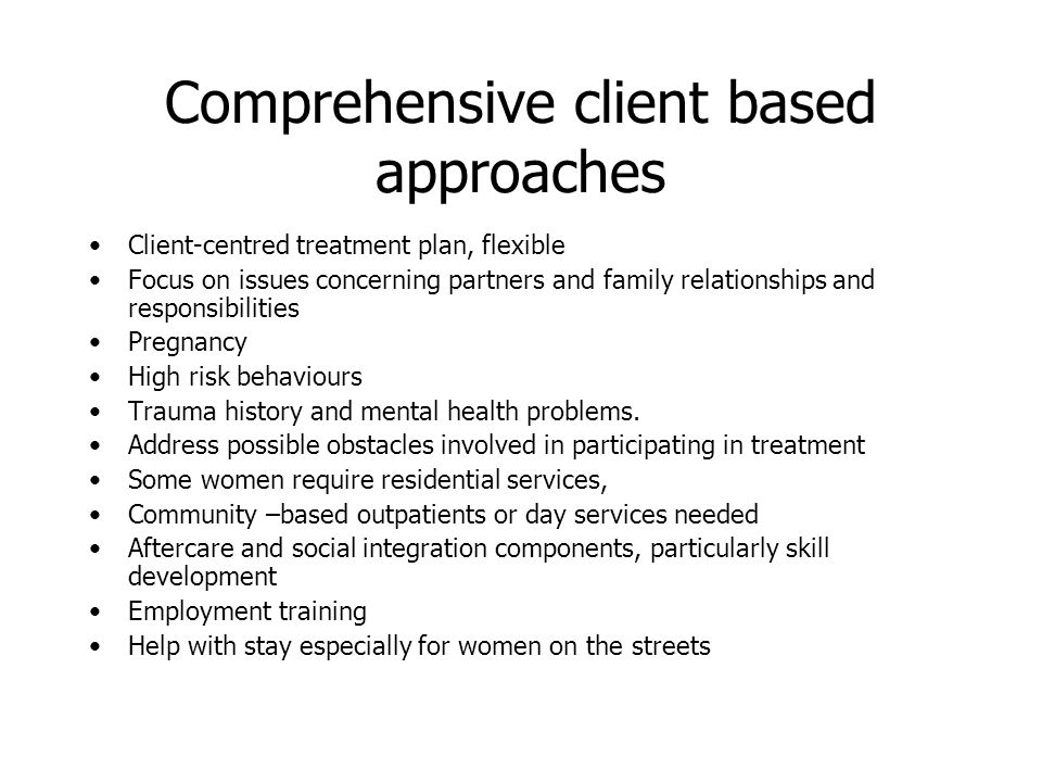 Comprehensive client based approaches