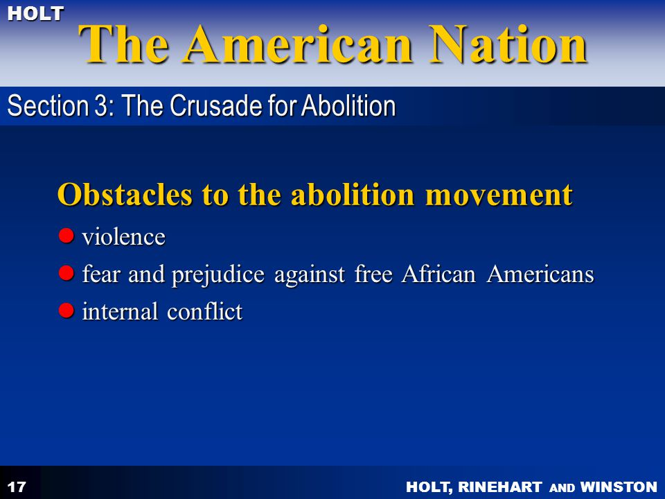Obstacles to the abolition movement