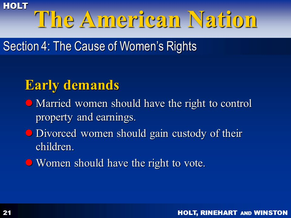 Early demands Section 4: The Cause of Women's Rights