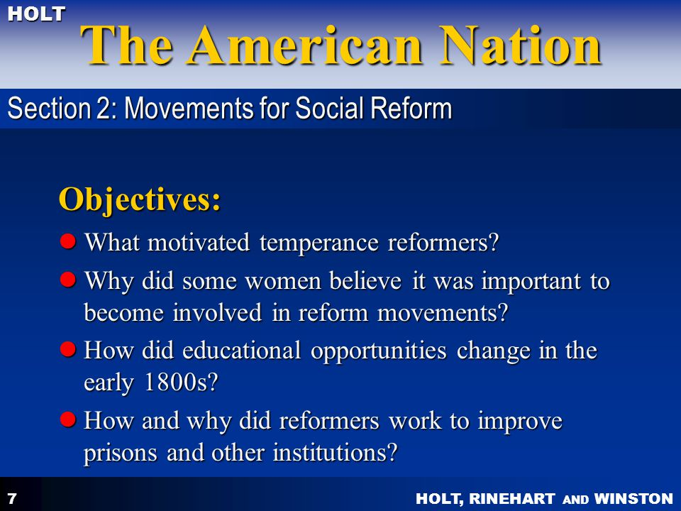 Objectives: Section 2: Movements for Social Reform