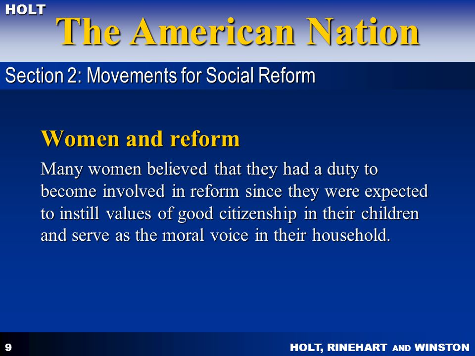 Women and reform Section 2: Movements for Social Reform