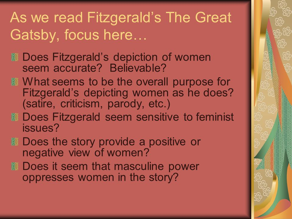 As we read Fitzgerald's The Great Gatsby, focus here…