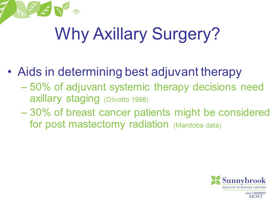 Why Axillary Surgery Aids in determining best adjuvant therapy