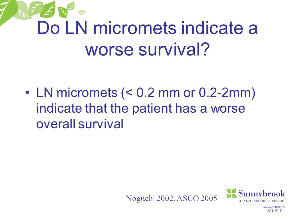 Do LN micromets indicate a worse survival