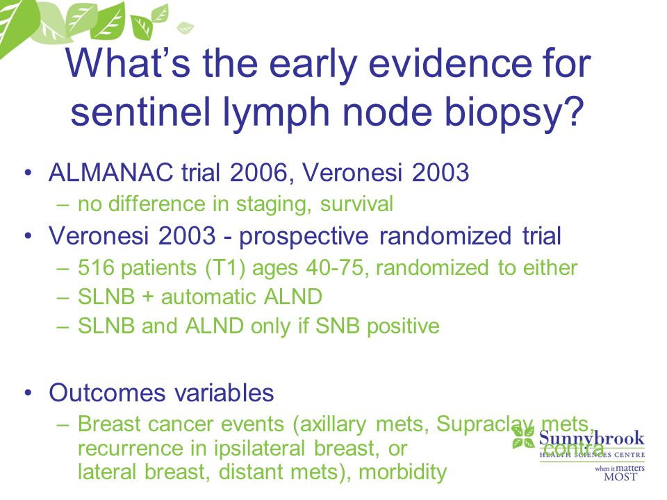 What's the early evidence for sentinel lymph node biopsy