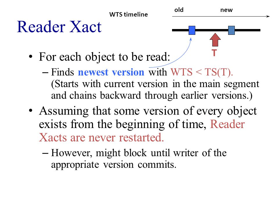 Reader Xact For each object to be read: