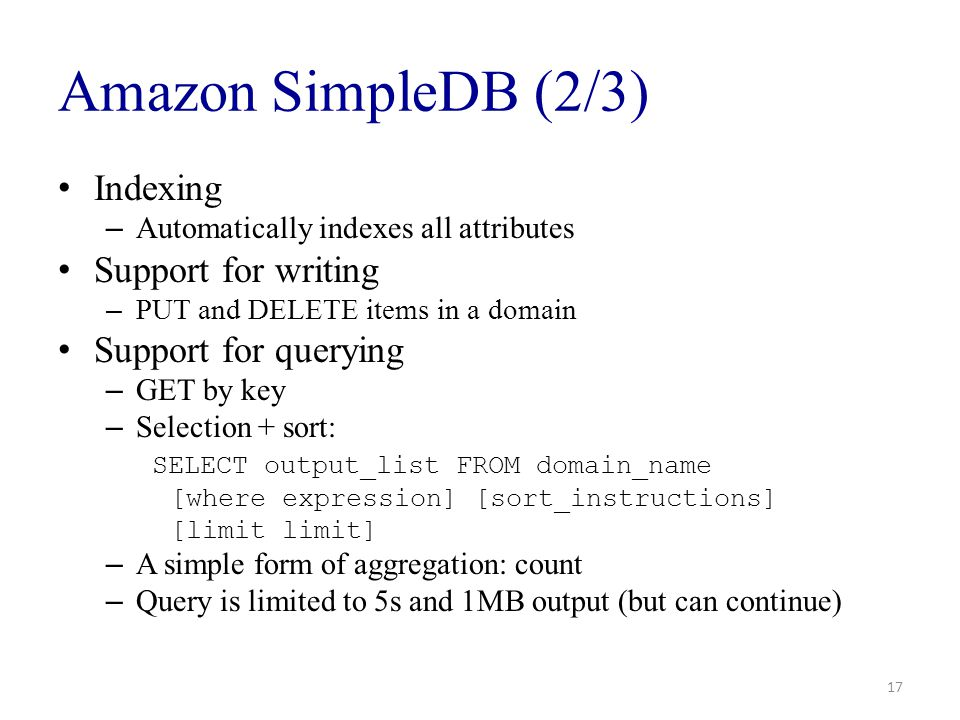 Amazon SimpleDB (2/3) Indexing Support for writing