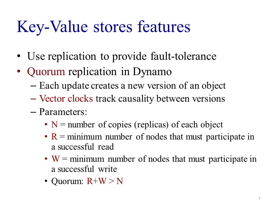Key-Value stores features