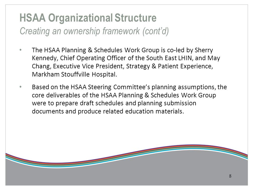 HSAA Organizational Structure Creating an ownership framework (cont'd)