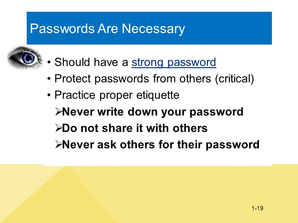 Passwords Are Necessary