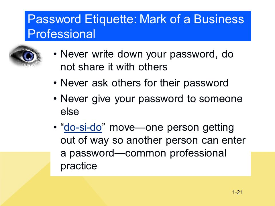 Password Etiquette: Mark of a Business Professional