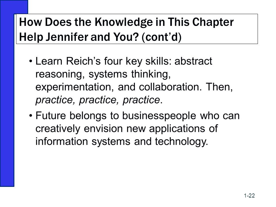 How Does the Knowledge in This Chapter Help Jennifer and You (cont'd)