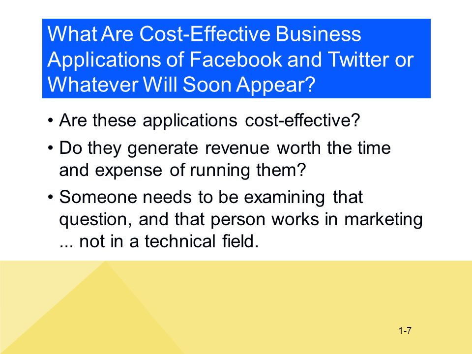 What Are Cost-Effective Business Applications of Facebook and Twitter or Whatever Will Soon Appear