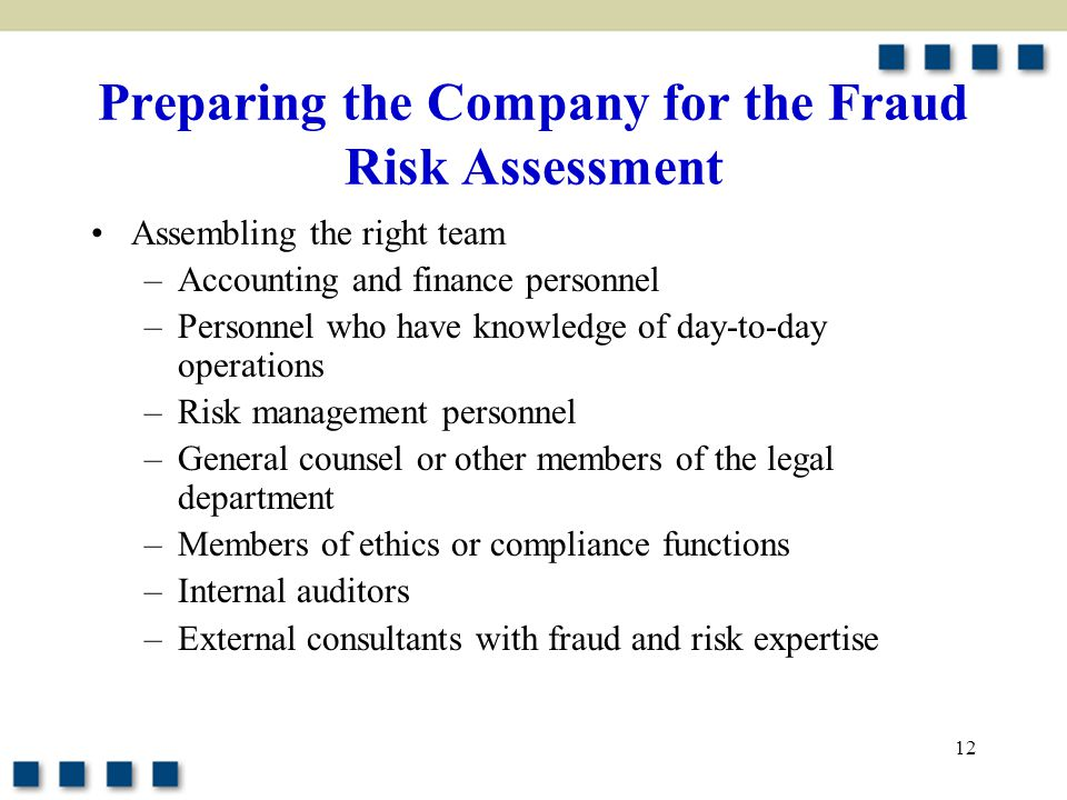 Preparing the Company for the Fraud Risk Assessment