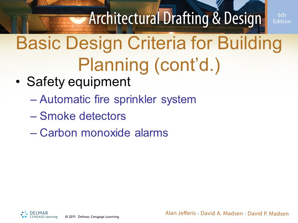 Basic Design Criteria for Building Planning (cont'd.)