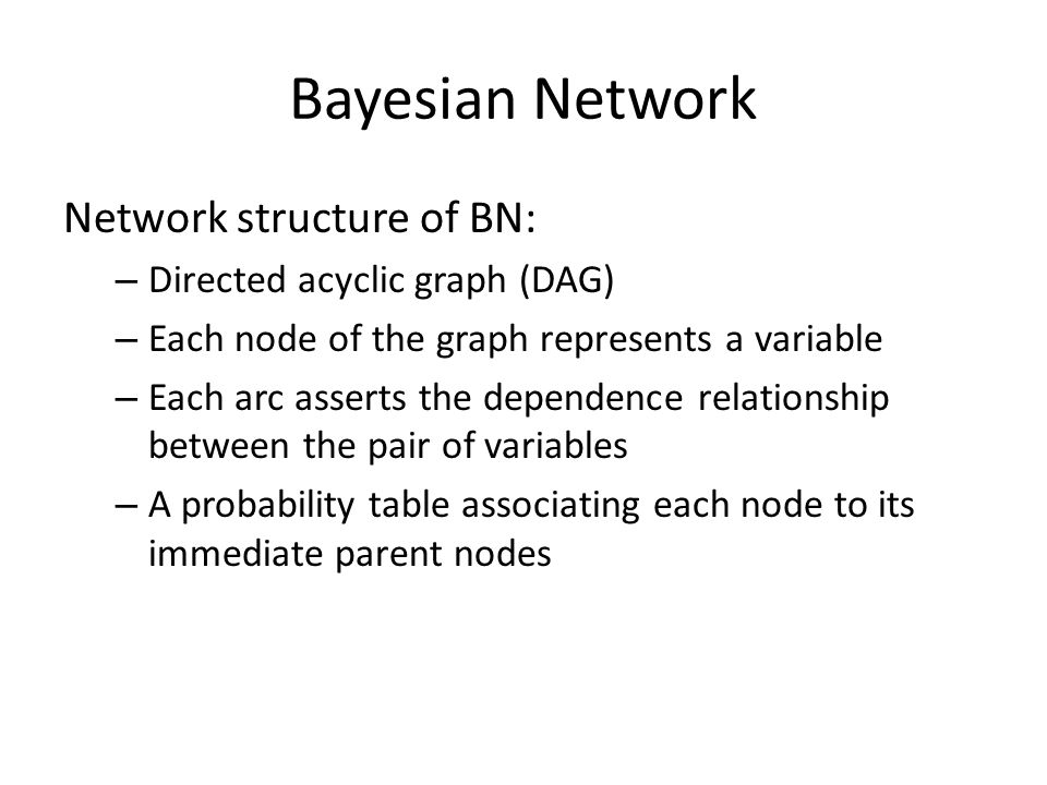 Bayesian Network Network structure of BN: Directed acyclic graph (DAG)
