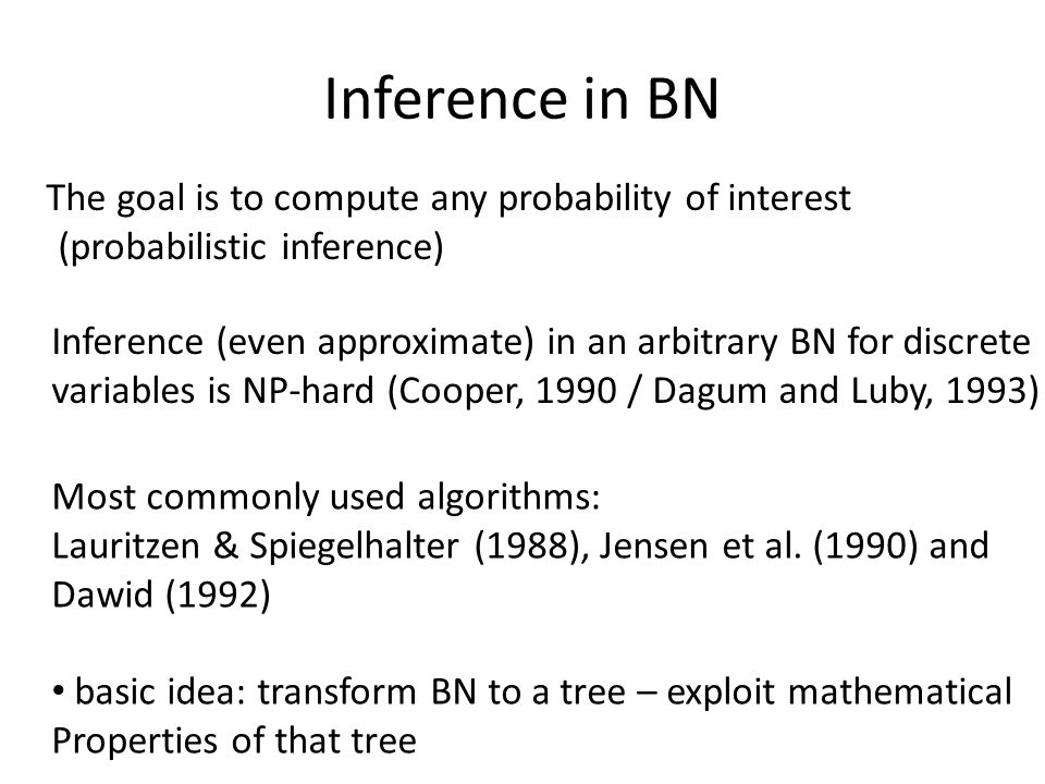 Inference in BN The goal is to compute any probability of interest (probabilistic inference)