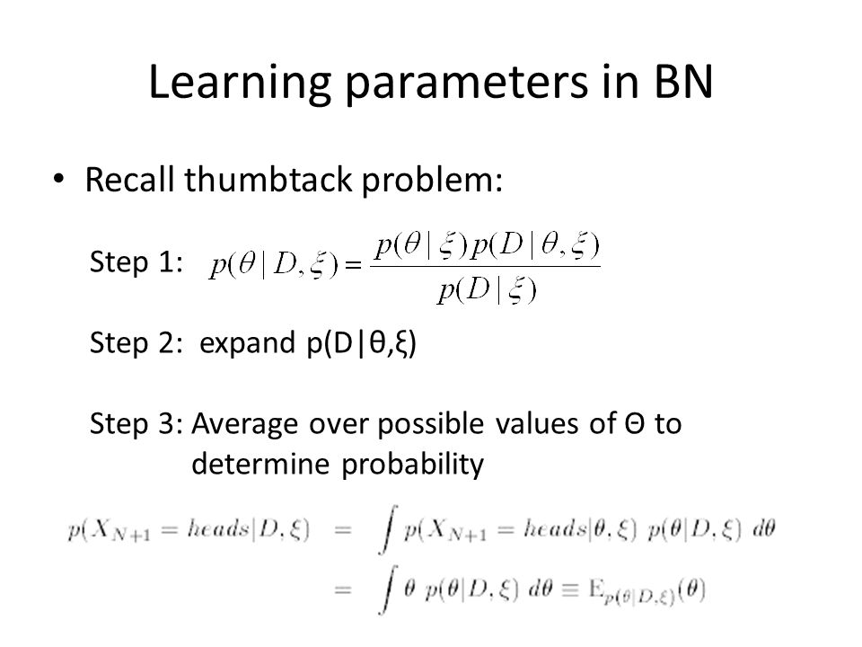Learning parameters in BN
