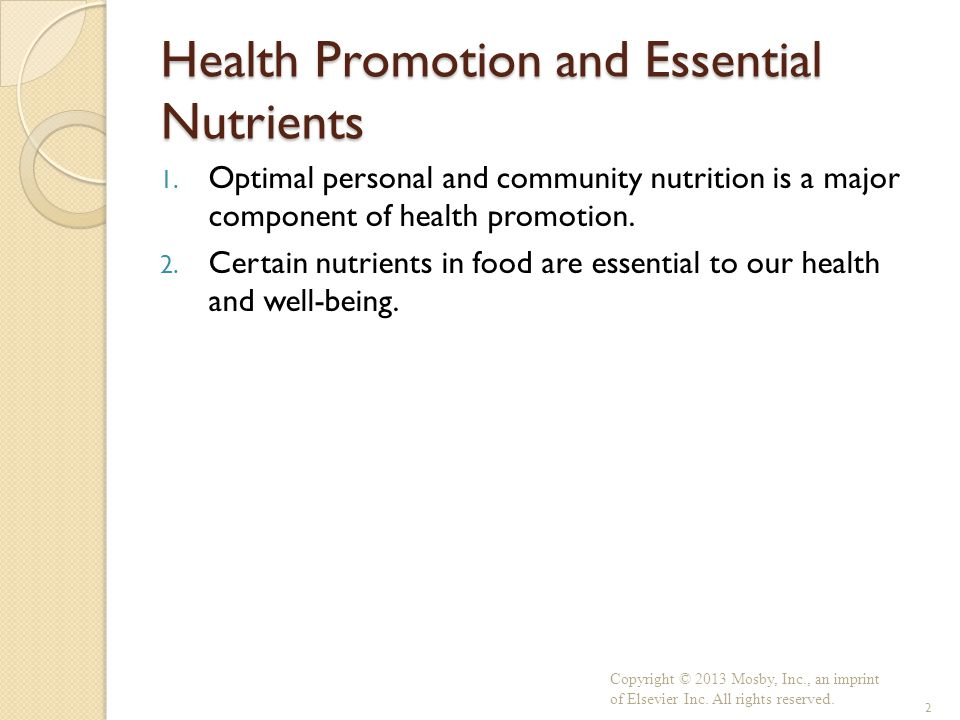 Health Promotion And Essential Nutrients