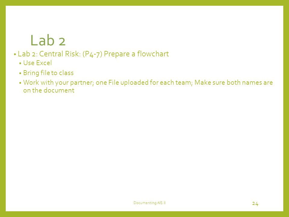 Lab 2 Lab 2: Central Risk: (P4-7) Prepare a flowchart Use Excel