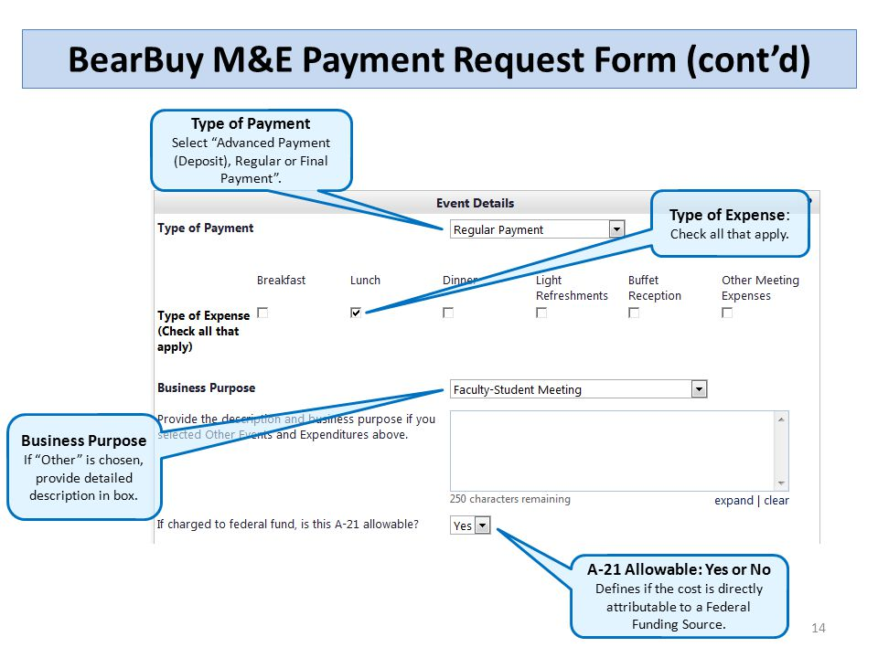 BearBuy ME Payment Request Form Contd