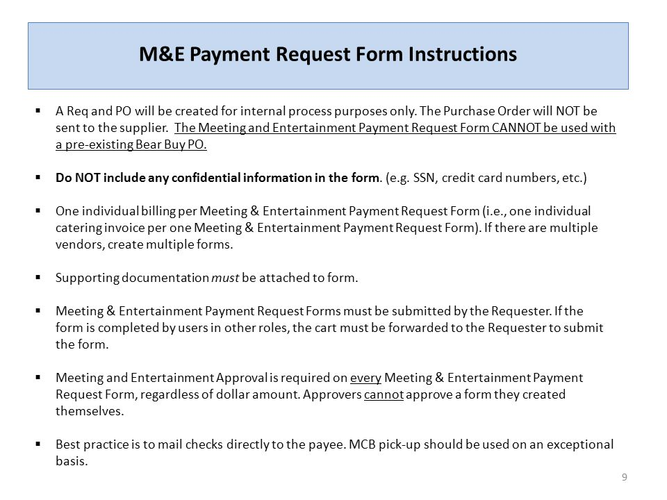 Payment Request Form | The Meeting And Entertainment M E Payment Request Form Ppt Video