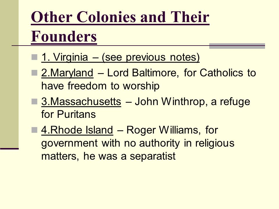 Other Colonies and Their Founders
