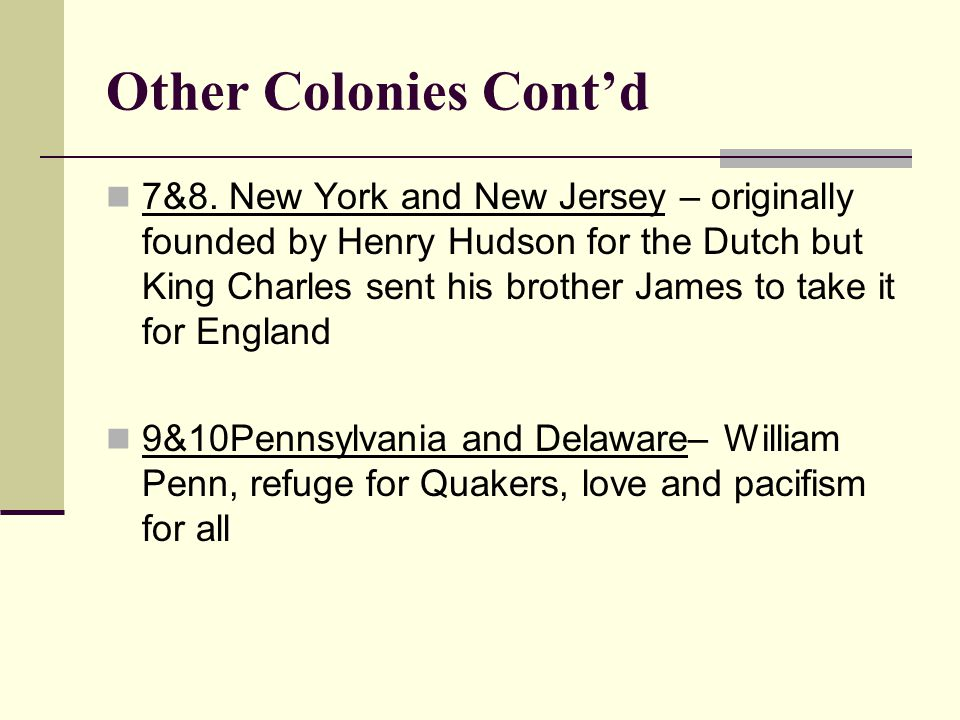 Other Colonies Cont'd