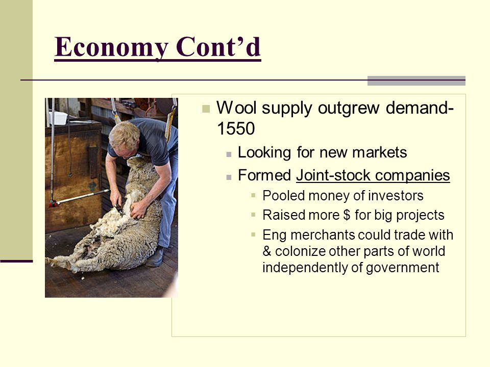 Economy Cont'd Wool supply outgrew demand-1550 Looking for new markets