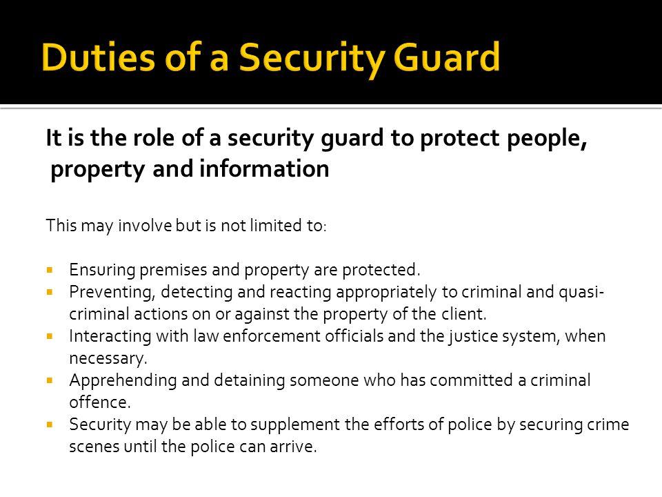 Duties Of A Security Guard