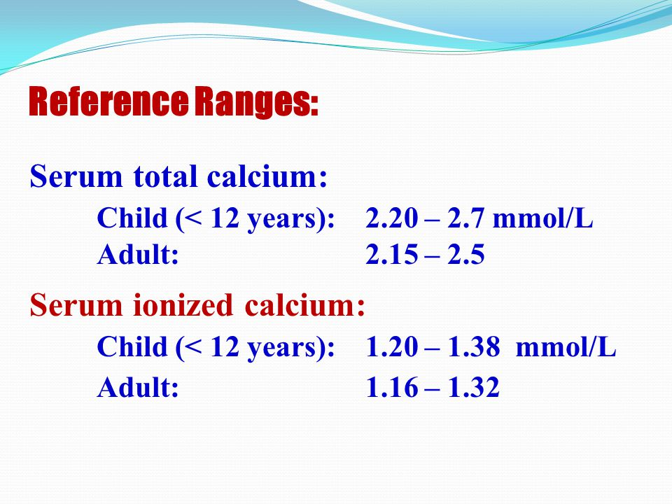 Reference Ranges: Serum total calcium: