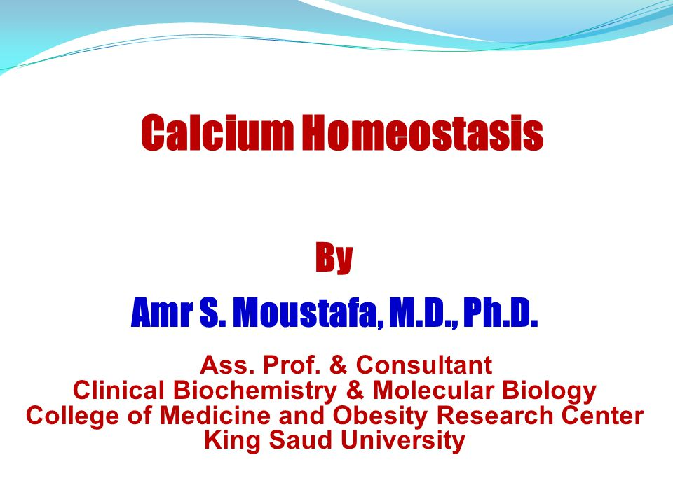 Calcium Homeostasis By Amr S. Moustafa, M.D., Ph.D.