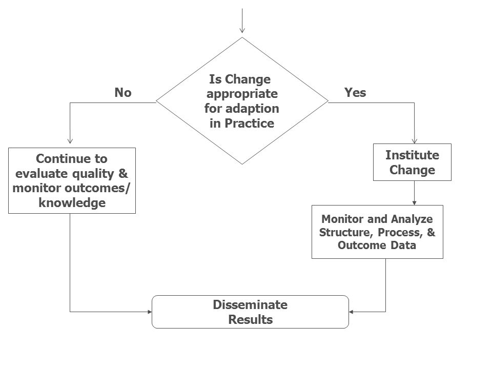 Is Change appropriate for adaption in Practice No Yes Institute Change
