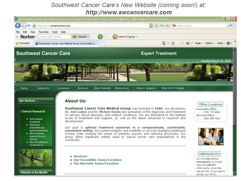 Southwest Cancer Care's New Website (coming soon. ) at: http://www