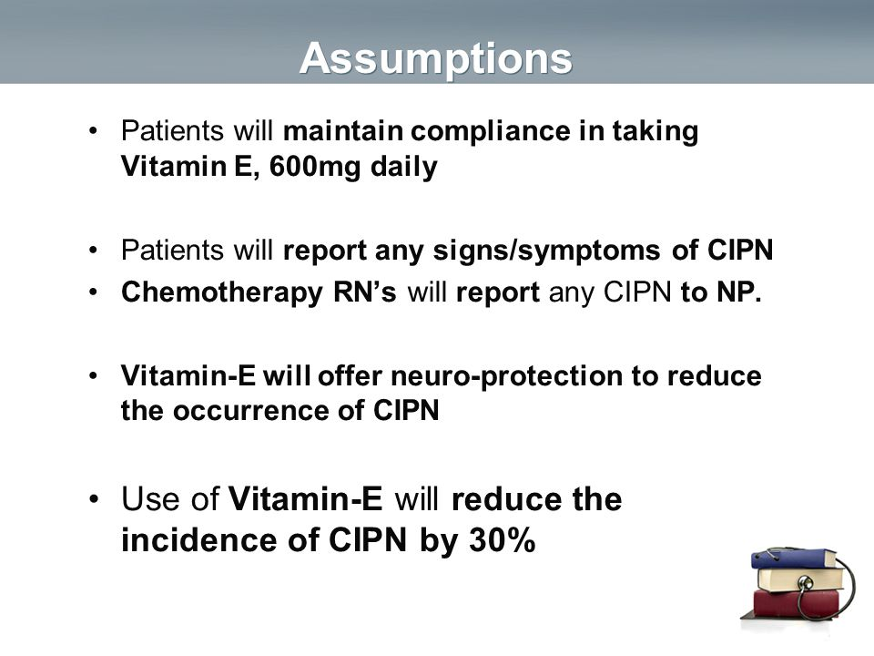 Assumptions Use of Vitamin-E will reduce the incidence of CIPN by 30%