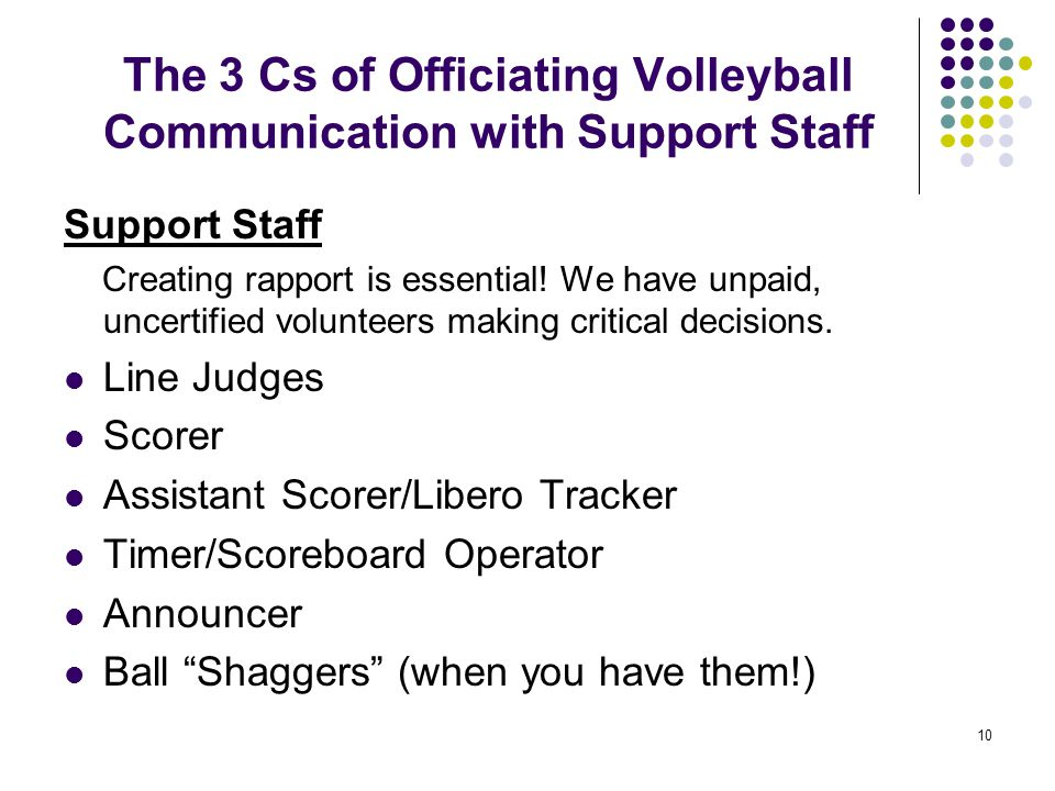 The 3 Cs of Officiating Volleyball Communication with Support Staff
