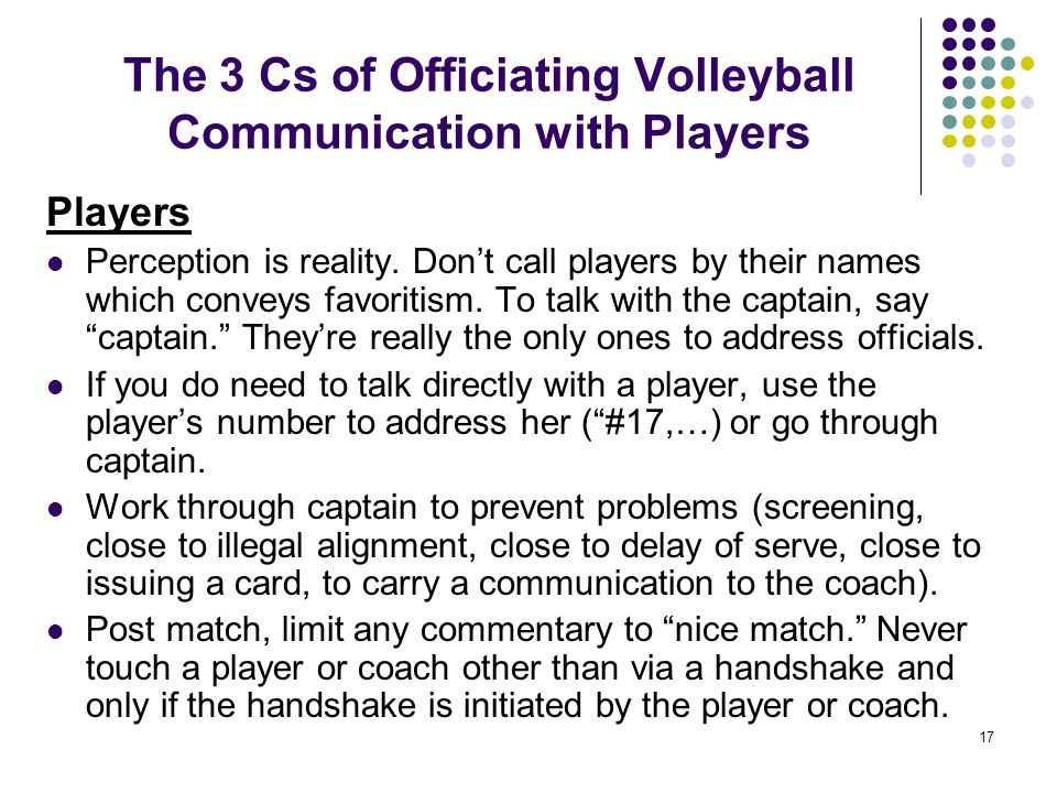 The 3 Cs of Officiating Volleyball Communication with Players