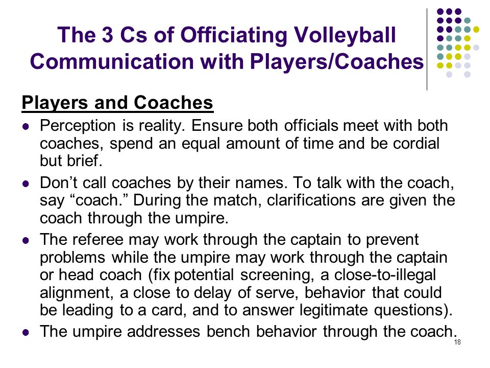 The 3 Cs of Officiating Volleyball Communication with Players/Coaches