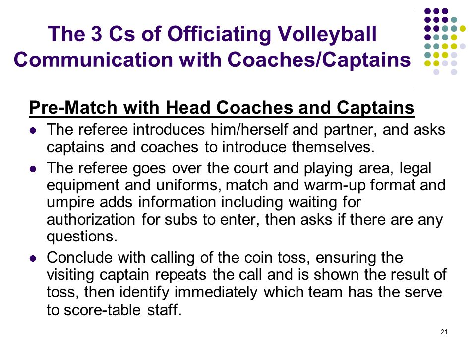 The 3 Cs of Officiating Volleyball Communication with Coaches/Captains