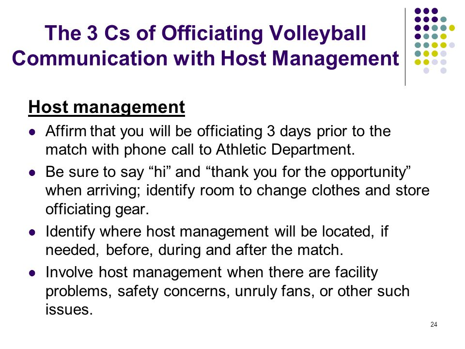 The 3 Cs of Officiating Volleyball Communication with Host Management