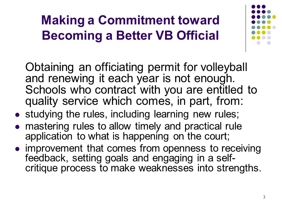 Making a Commitment toward Becoming a Better VB Official