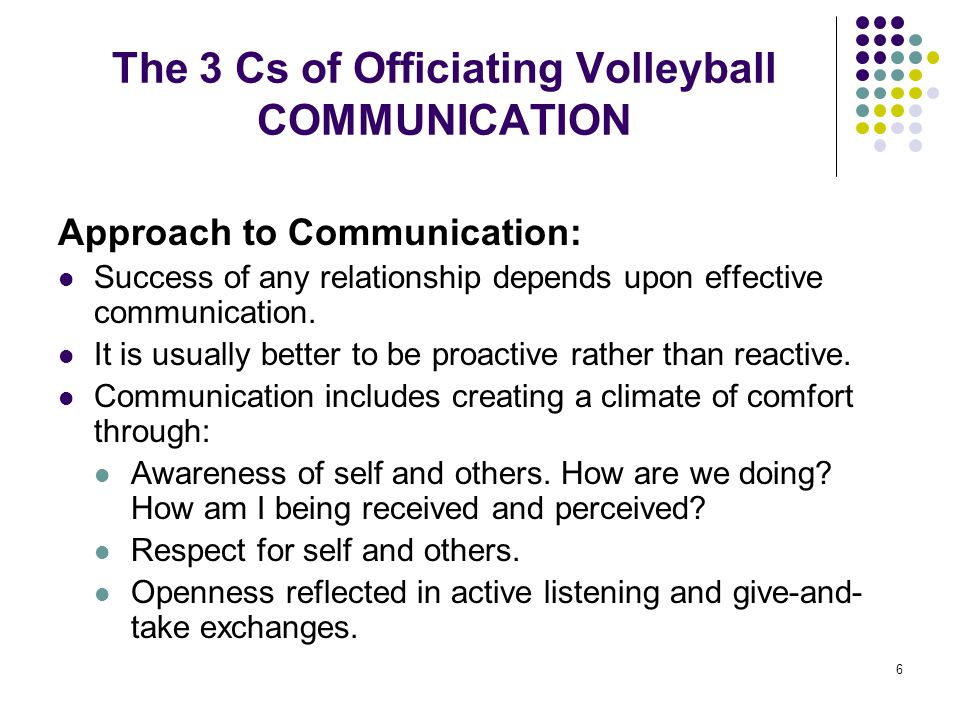The 3 Cs of Officiating Volleyball COMMUNICATION