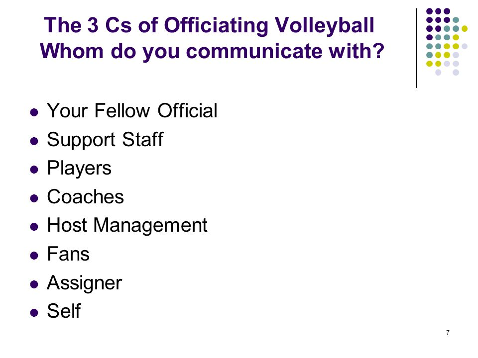 The 3 Cs of Officiating Volleyball Whom do you communicate with